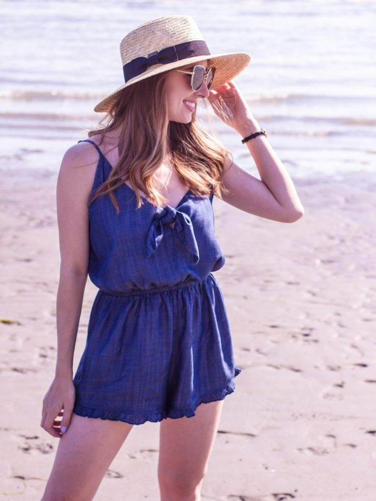Romper, Denim Romper, Playsuit, Outfits for Summer, Summer Fashion, Summer Style, Cat eye sunglasses, straw hat, summer must haves