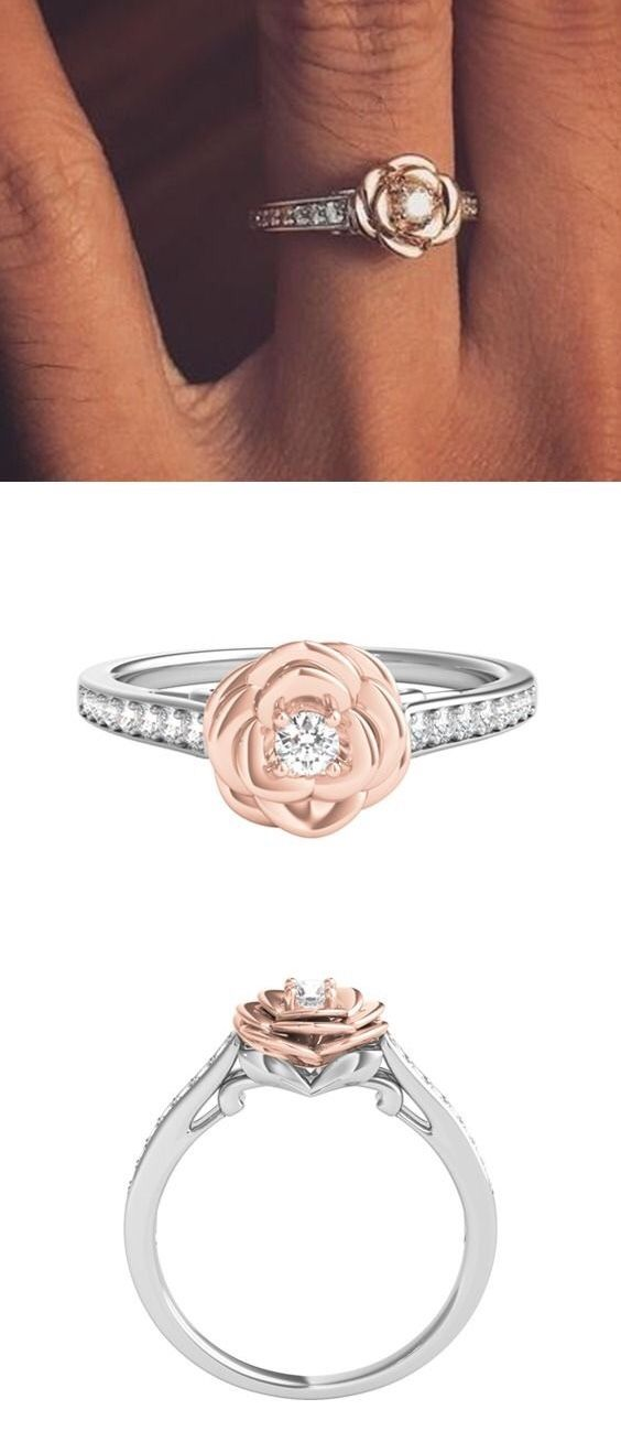3cda60cdc Enchanted Disney 1/5 ct. tw. Diamond Belle Rose Ring in Sterling ...