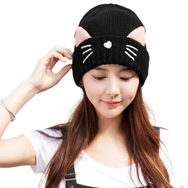 Siggi Womens Wool Knit Black Skull Cable Beanie Cap with Cat Ears Hats Winter Fleece Lined