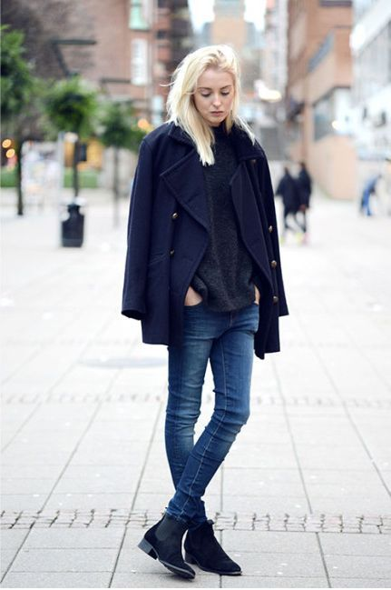 A navy blue pea coat and navy slim jeans will give off this very sexy and chic vibe. Navy suede chelsea boots will give your look an on-trend feel.