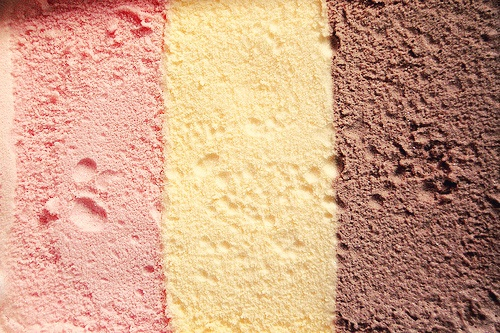 Neopolitan Ice cream - wasted in my house, we only ever wanted the pink one!