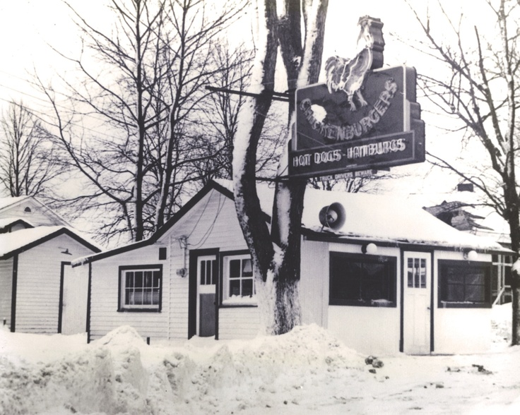 The Chickenburger in winter. This building was destroyed by a fire in the early 1940's. it was later rebuilt into the building the we have today.