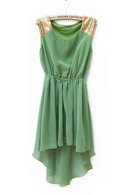 Pretty: Solid Waist, Irregular Chiffon, Dresses Green, Sequins Solid, Beautiful Dresses, Green And Gold, Waist Irregular, Chiffon Dresses, Sequins Chiffon