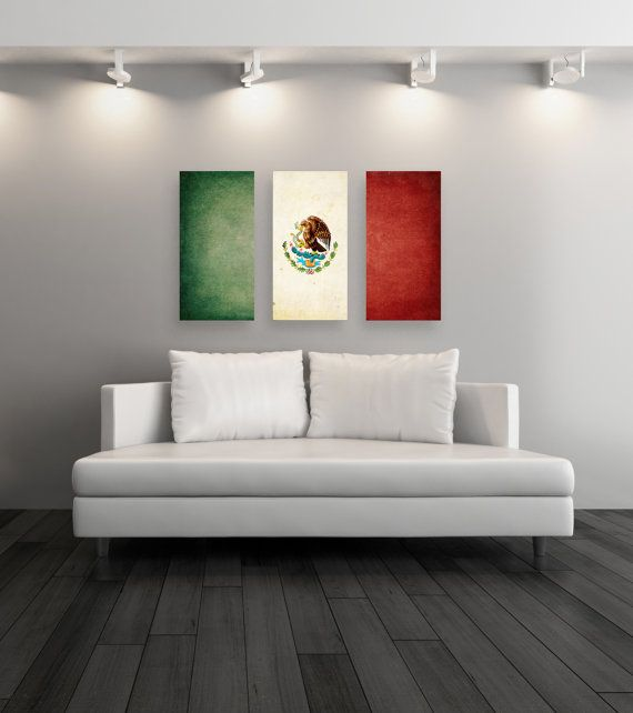 Triptych Vintage Mexican Flag, Panel Canvas Art, Vintage Mexican, Gift Ideas, Wall Decor Mexican Flag Canvas, Set of 3 Canvases [PXCF042-C]