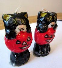 Gurley Candles Halloween Vintage Cats Jack O Latern Red Pumpkin Halloween Gurley