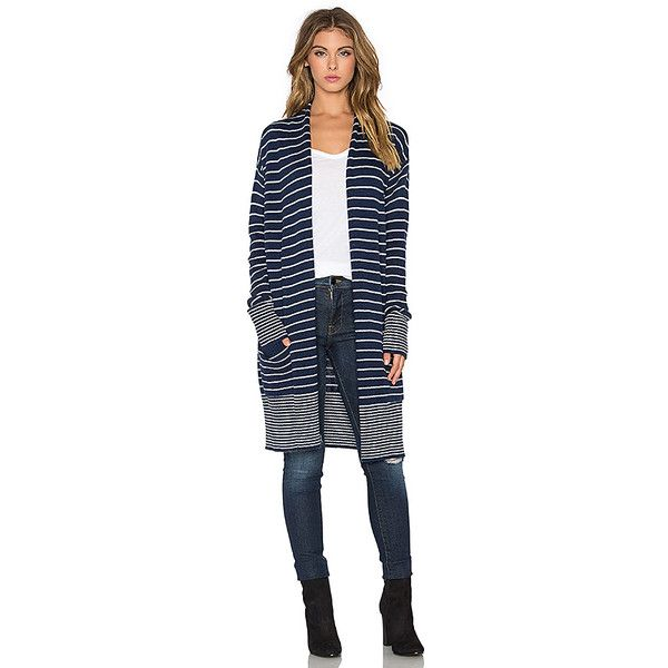 Splendid Needle Stripe Cardigan ($140) found on Polyvore featuring women's fashion, tops, cardigans, sweaters & knits, splendid tops, stripe cardigan, blue striped cardigan, blue striped top and blue knit top