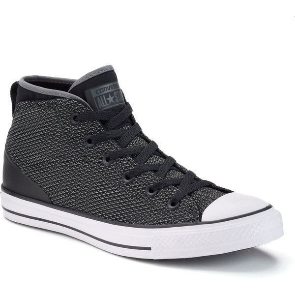 Men's Converse Chuck Taylor All Star Syde Street Mid Reflective Shoes ($50) ❤ liked on Polyvore featuring men's fashion, men's shoes, men's sneakers, black, mens lace up shoes, mens shoes, mens black sneakers, mens sneakers and mens round toe shoes