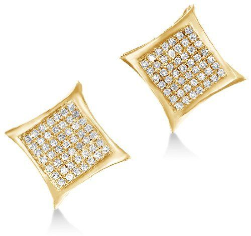 10k Yellow Gold Diamond Las Womens Mens Micro Pave Set Studs Round Cut Square Princess Shape Earrings 1 6 Cttw Sonia Jewels