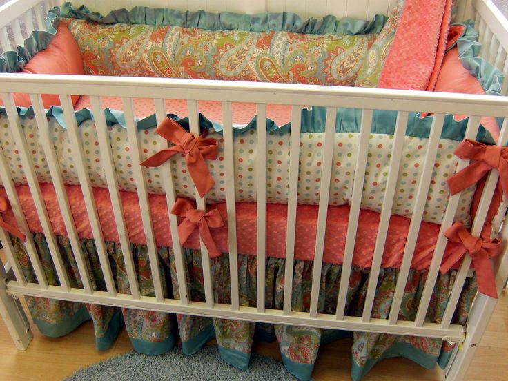 Baby Bedding:  Cots, Polka Dots, Baby Bedding, Color Combos, Girls Beds, Color Schemes, Baby Beds, Bright Color, Nurseries Ideas