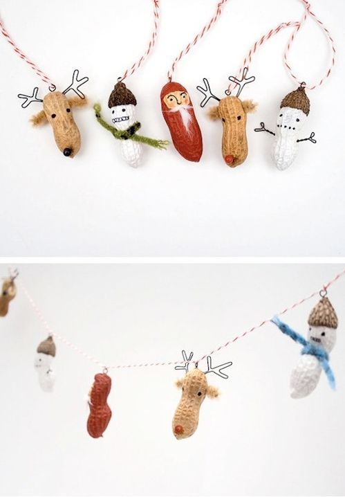 Peanut Creatures for Ornaments and Garlands | 62 Impossibly Adorable Ways To Decorate This Christmas