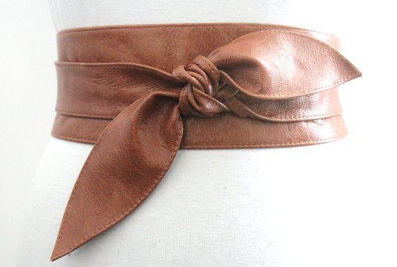Distressed Tan Brown Leather Obi Belt tulip tie by LoveYaaYaa