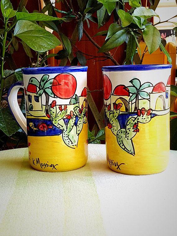 Coppia bicchieri da birra in ceramica. Mug in ceramica.