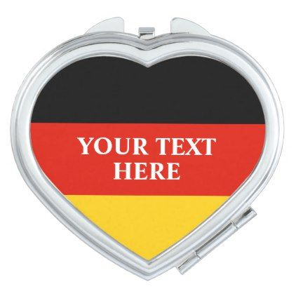 German flag of Germany personalized heart shape Compact Mirror - heart gifts love hearts special diy