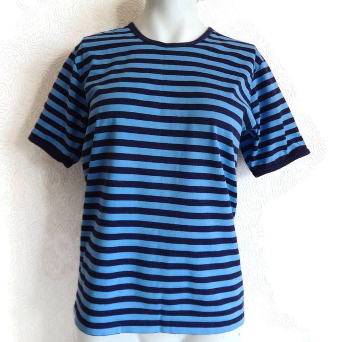 MARIMEKKO Blue & Purple Striped T- Shirt Cotton Jersey Shirt Nautical  Women's Marimekko Clothing Marimekko Tee Vintage Tee Finnish Clothing by Vintageby2sisters on Etsy