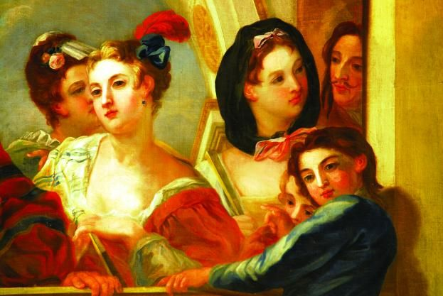 "Article ""How to survive in the Georgian court"", by Lucy Worsley. (Image: Painted ladies at Kensington Palace signal secrets with their fans - Chris Puddephatt). Click for article."
