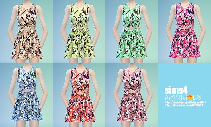 SIMS4 marigod: flower summer dress_플라워 여름 드레스_여성 의류