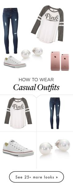 """Casual Day "" by princessbrandik on Polyvore featuring Victoria's Secret, Hudson, Converse and Mikimoto"