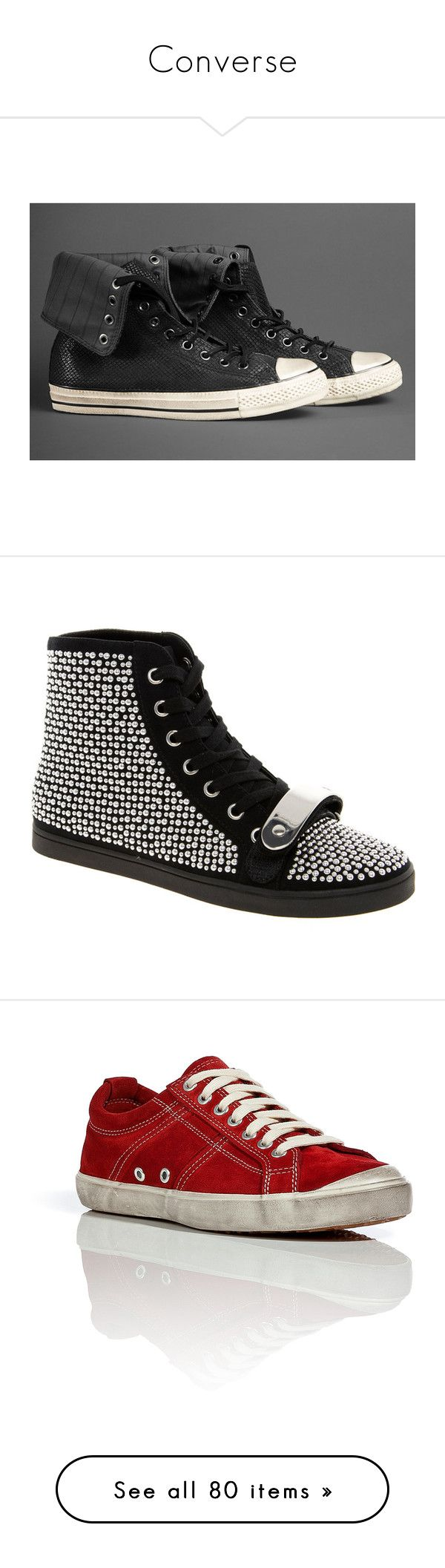 """""""Converse"""" by son-of-hades on Polyvore featuring shoes, sneakers, asos, black, tenis, high top sneakers, black studded high tops, black high top shoes, black high tops e studded high tops"""