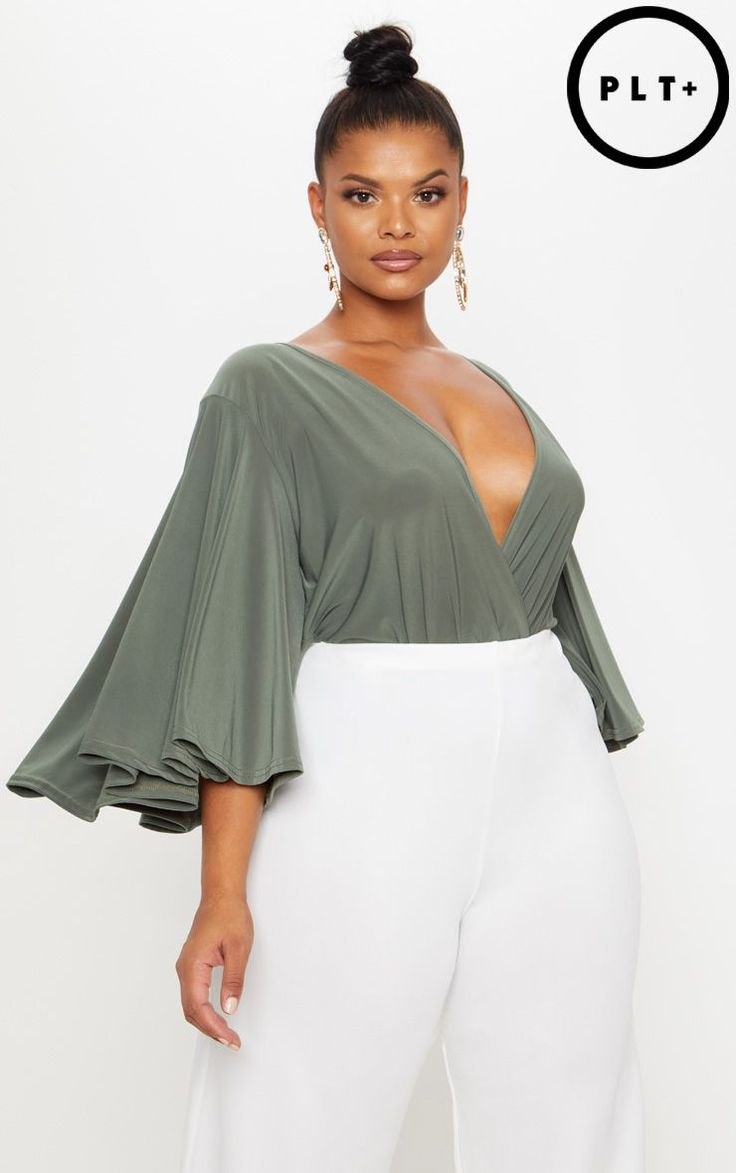 Plus Olive Green Wrap Front Slinky Bodysuit
