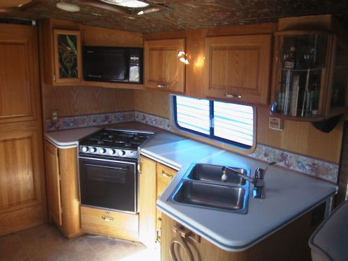 Galley with all built in appliances 1973 GMC RV Bus Conversion for sale by Livicks Truck and Bus Lindsay, California 93247