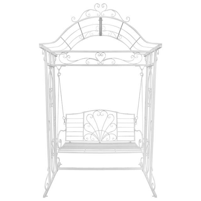 Скамейка с аркой металлическая 157х110х255см белая