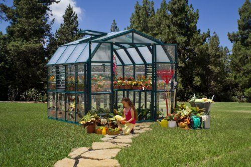 "Prestige Greenhouse 8'6"" x 12'7"" Premium Package by Prestige. $3803.48. 4 Two-Tier Staging Tables & 1 Solar Light. Rain Gutter for Both Sides of Greenhouse. Green Frame, 4mm Opaque Roof Panels, 1mm Clear Side Panels, Double French Doors.. Base Kit. 2 Roof Vents & 2 Automatic Vent Openers, 2 Side Louver Windows & 2 Automatic Louver Openers. he Rion Prestige greenhouse offers the optimal environment for successful backyard gardening. The use of opaque polycarbonate pane..."