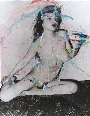 Arnulf Rainer, Butterbrotesserin, 1977 Aus der Serie Zyklus: Frauensprache Bleistift, Malerei über Foto 50,7 x 46 cm © Arnulf Raineraus der Ausstellung