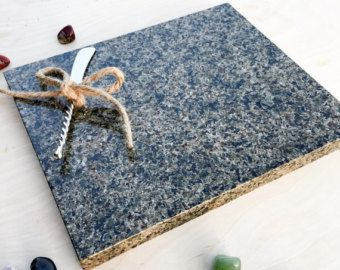 Striking Granite Cutting Board with Initialed Knife - Cheese Board, Candle Hold, Freezable Service Platter, Housewarming Gift, Hostess Gift