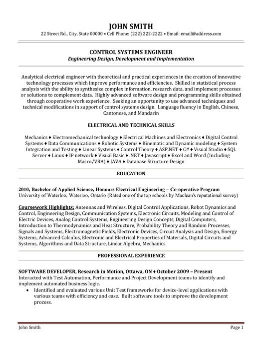 10 best Best Electrical Engineer Resume Templates \ Samples images - control systems engineer sample resume