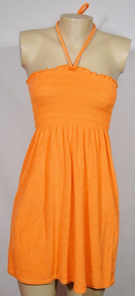 JORDAN TAYLOR BEACHWEAR Orange Terrycloth Halter Swim Cover-Up Small Smocked #JordanTaylor #CoverUp