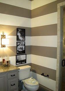 stripes make small rooms look bigger ~ love the color .. Guest Bath
