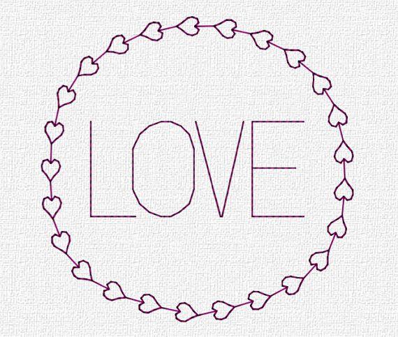 Love in Round Hearts Border Redwork Embroidery Machine Pattern Download Modern 4x4 5x7 6x10