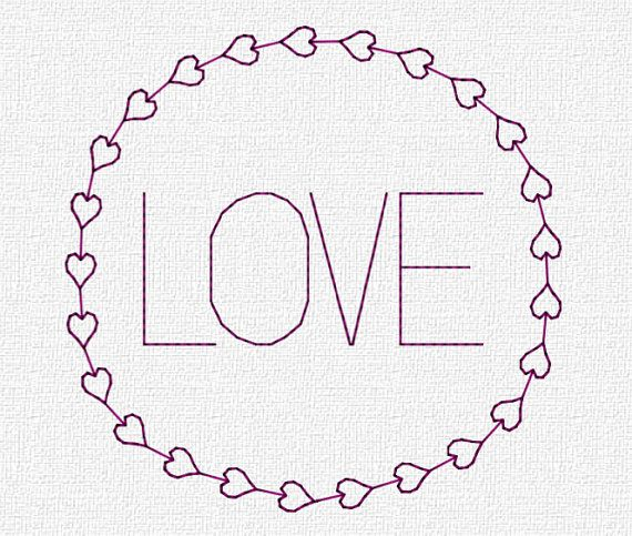 Love in Round Hearts Border by Katie Lyons    Finished Measurements are:    4x4 Hoop - 3.6h x 3.67w  4x4 Hoop in .sew - 3.34h x 3.57w  5x7 Hoop -