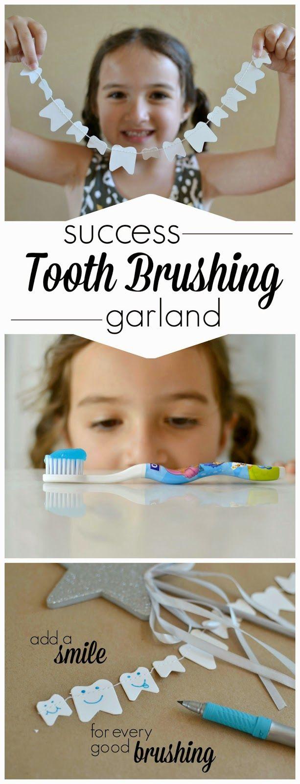 DIY Tooth Brushing Success Garland- get them to brush and make this CUTE reward chart!