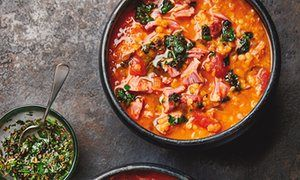 Yotam Ottolenghi's ham hock and red lentil soup.