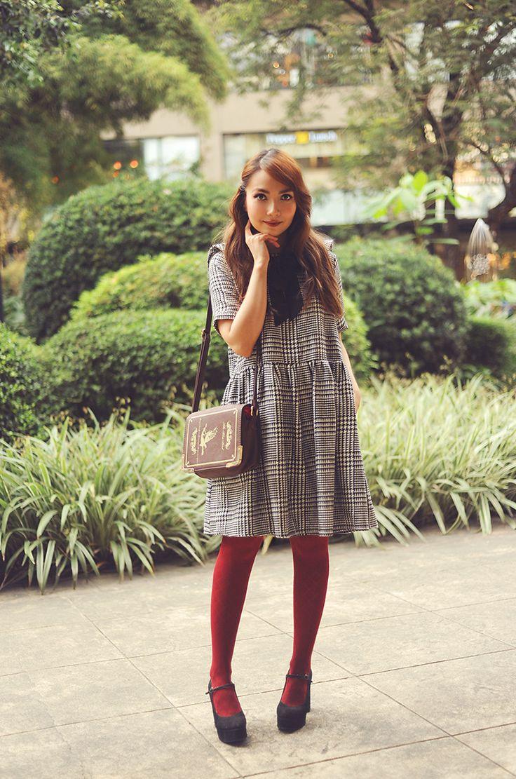 8bestiekonisis-houndstooth plaid dress