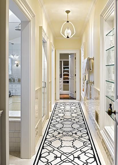 Gorgeous Bathroom  My hallway. White trim with pale yellow walls. I like the runner.