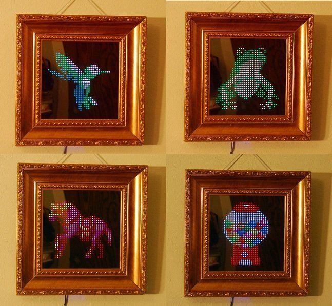 O Pixel Interactive LED Art é um projeto de arte interativa que relembra o início do uso dos computadores quando só era possível fazer imagens com movimento um pixel por vez. É um espelho com um painel com 1.000 de lâmpadas de LED e, por meio de um aplicativo, você pode usar as imagens produzidas por diversos artistas pelo mundo ou pode criar a sua própria arte. Ainda conta com um sensor de aproximação, quando alguém chega perto a imagem interage com a pessoa. É ou não é uma ótima decoração…