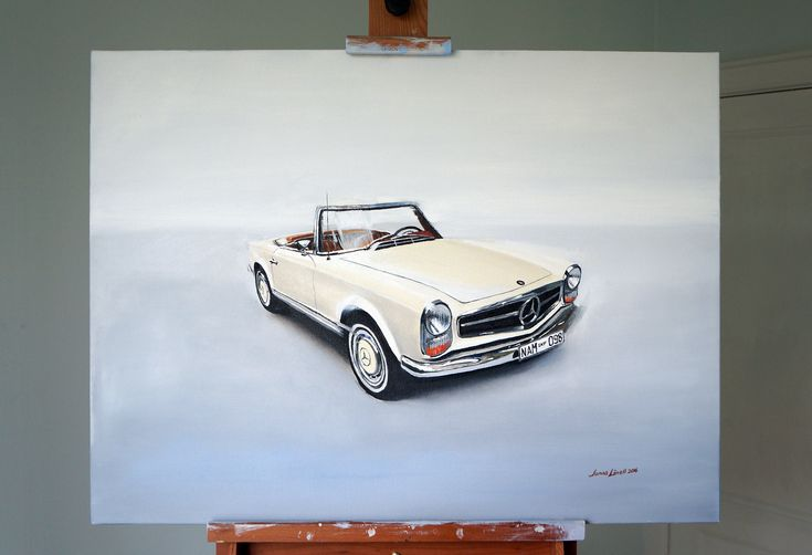 Mercedes-Benz 280SL done for Danish client. Oil on canvas, 80 x 60 cm. Painting by Jonas Linell 2016. #oil #painting #oilpainting #art #artwork #carart #classiccars #mercedes #benz #mercedes-benz #vintage #cars #car #illustration #classic #german  #art #posters #painting #artwork
