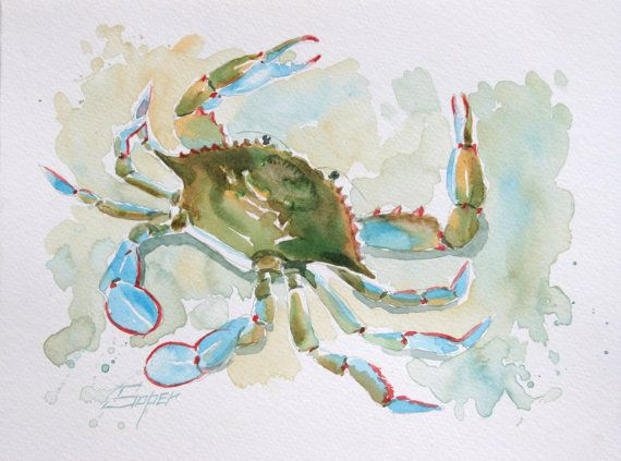 Fine art print of blue crab watercolor painting by by SoperArt, $35.00