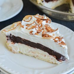 This easy no bake Coconut Fudge Pie has three delicious layers just waiting for you to dive right in to. Chocolate and coconut in every bite!