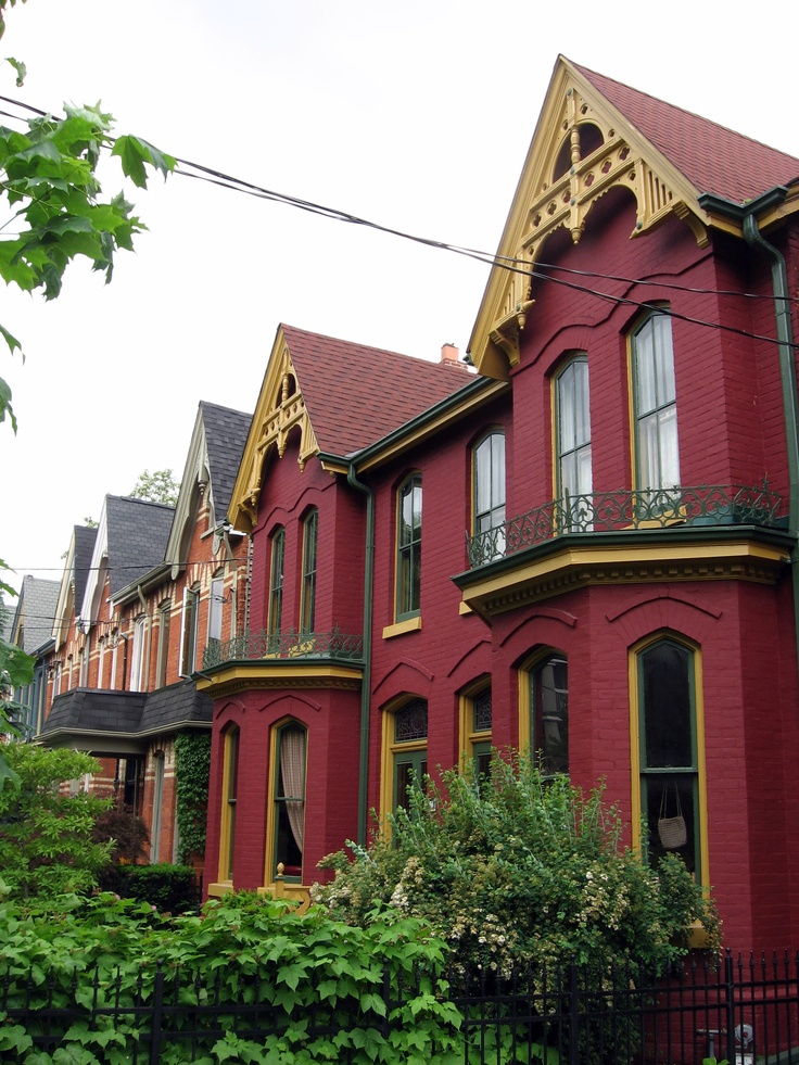 Victorian rowhouses with Gothic details and original mouldings and trimwork