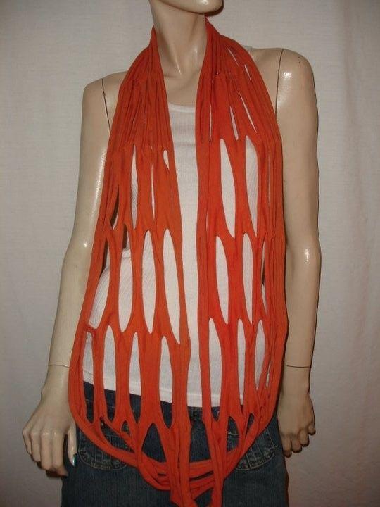 shredded jersey honeycomb eternity scarf by JohnnyVegasOriginals