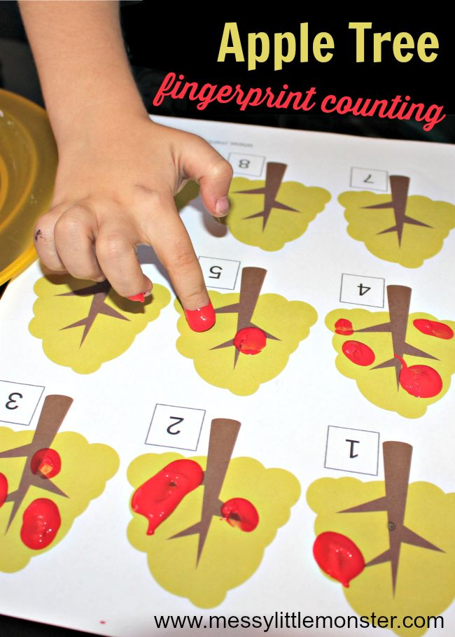 Fingerprint counting. A simple apple tree counting activity for toddlers and preschoolers. Download our (FREE) printable for learning to count and working on number recognition. Inspired by the book 'Ten Red Apples' by Pat Hutchins this kids activity is perfect for Autumn (Fall).