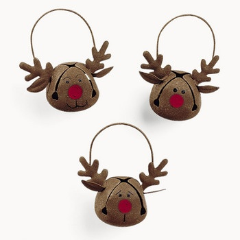 """Reindeer Bells.- these r for sale but can easily be made yourself!  Saw the brown bells at Dollar Tree today, and wondered, """"why would anyone want brown bells?""""  Now I know!"""