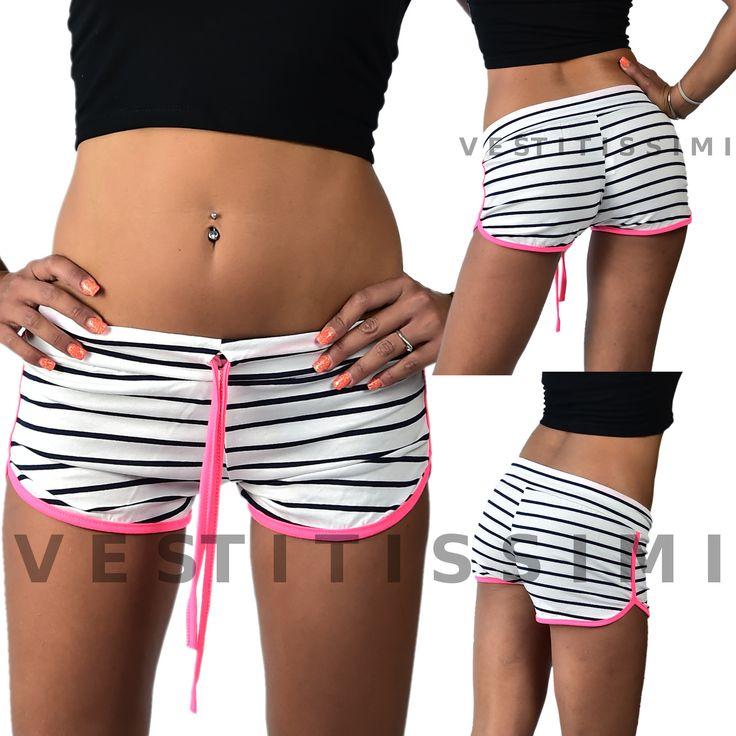 Pantaloncini donna SPORTIVI  Shorts donna sportivi. Pantaloncini corti fitness fantasia a righe in misto viscosa  Pantalonicino sport made in Italy, perfetto per la palestra, il jogging e l'attività all'area aperta.  Pantaloncini sportivi imperdibili per un look sexy fashion.  Taglia unica, calza una XS/M ovvero stanno più comodi ad una XS e più aderenti ad una M.  Materiale:      95% Viscosa     5% Elastam
