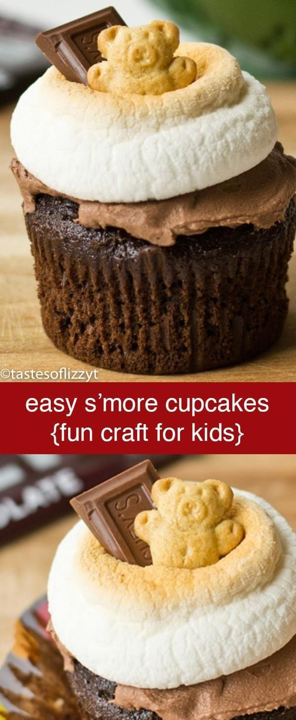 S'more cupcakes are a different take on the traditional S'more. Great for a camping themed party or a fun snack for kids! S'more Cupcakes {Easy Edible Craft Recipe for Kids} via @tastesoflizzyt