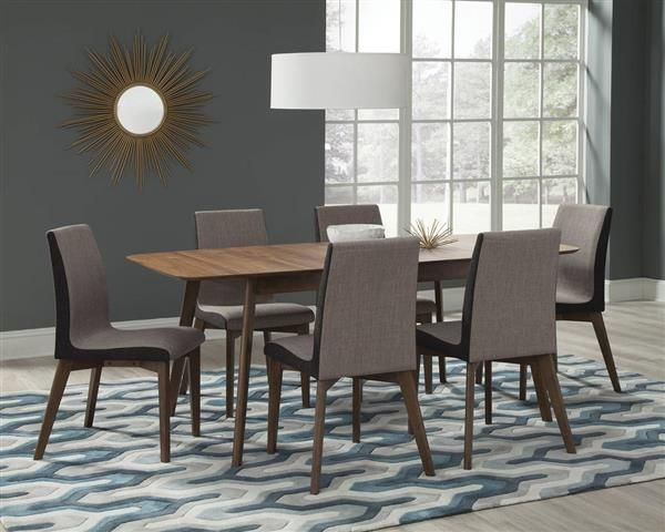Redbridge Modern Natural Walnut Grey Wood Fabric 7Pc Dining Room Brilliant Coaster Dining Room Furniture Design Inspiration