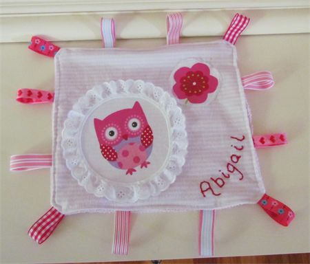Cuddle cloth with tags security blanket personalised with embroidered name | Lizzieslovelies | madeit.com.au