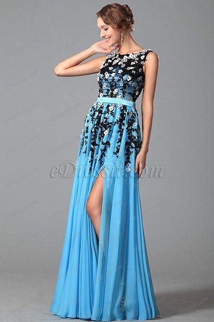 eDressit Robe de soirée longue bleu sans manche fendue (02151405)